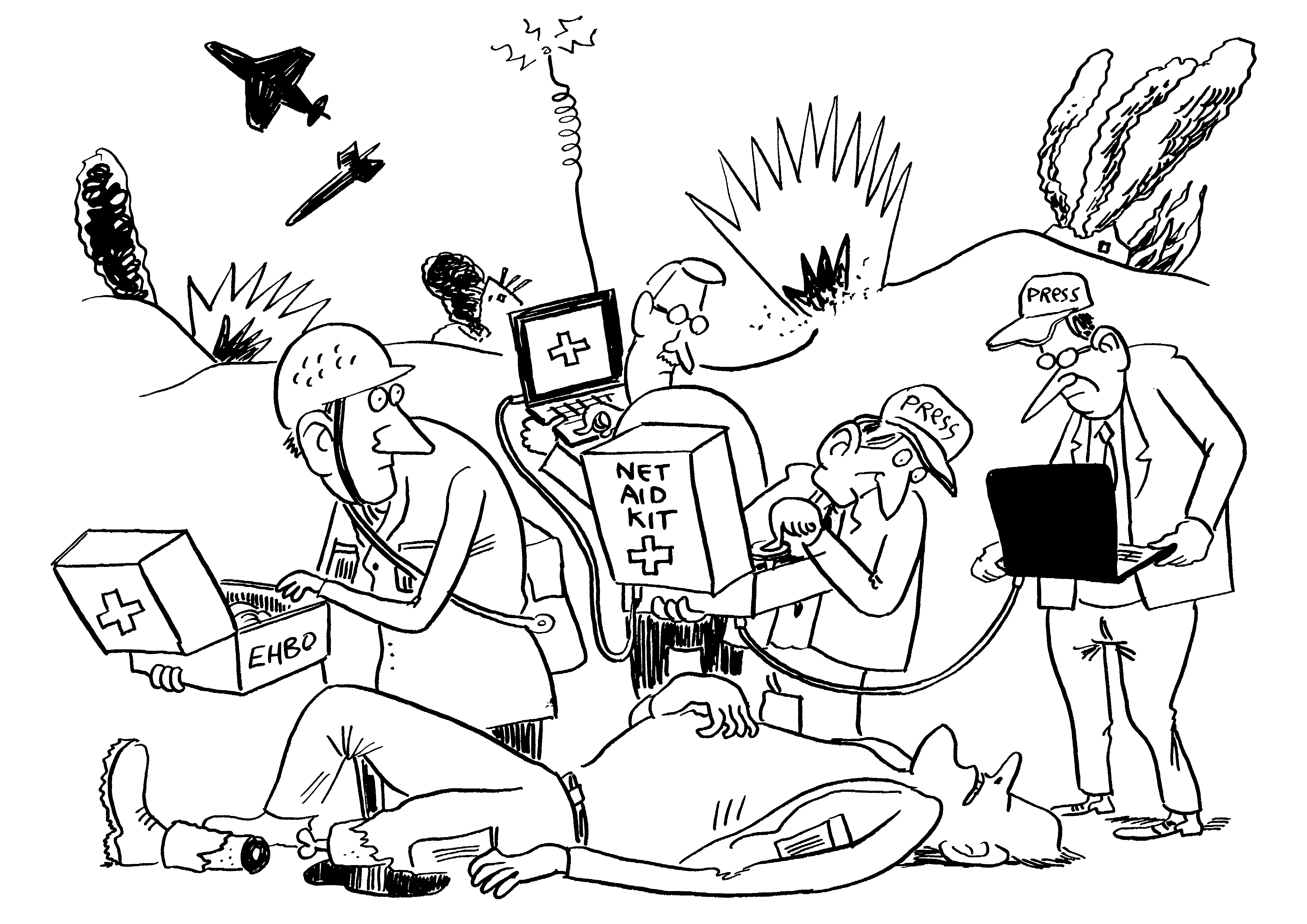 Cartoon of the NetAidKit from the ISOC.nl Innovation Award created by Michiel van de Pol/ComicHouse.nl